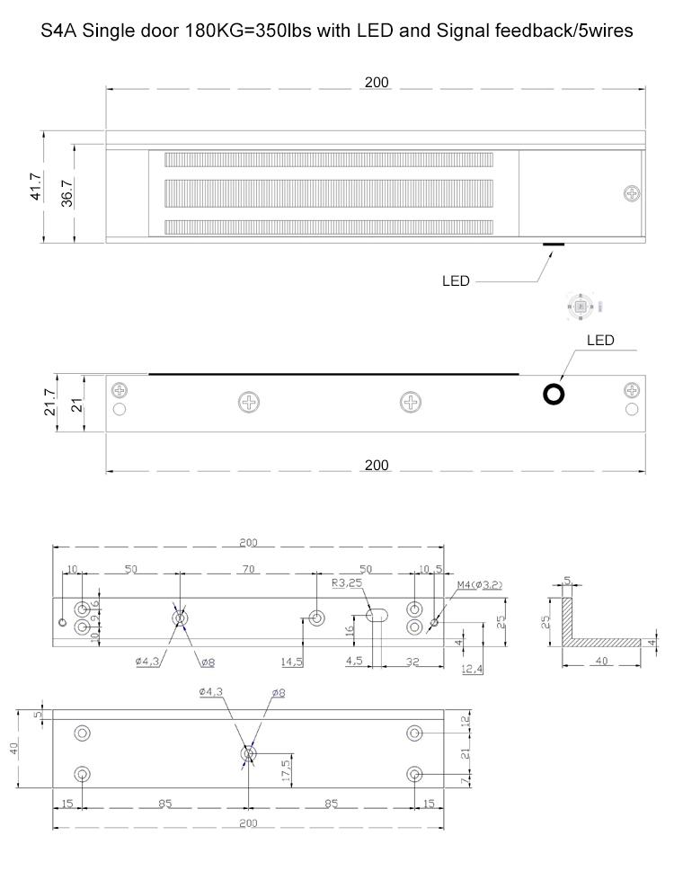 180KG Single door EM lock with 5wires